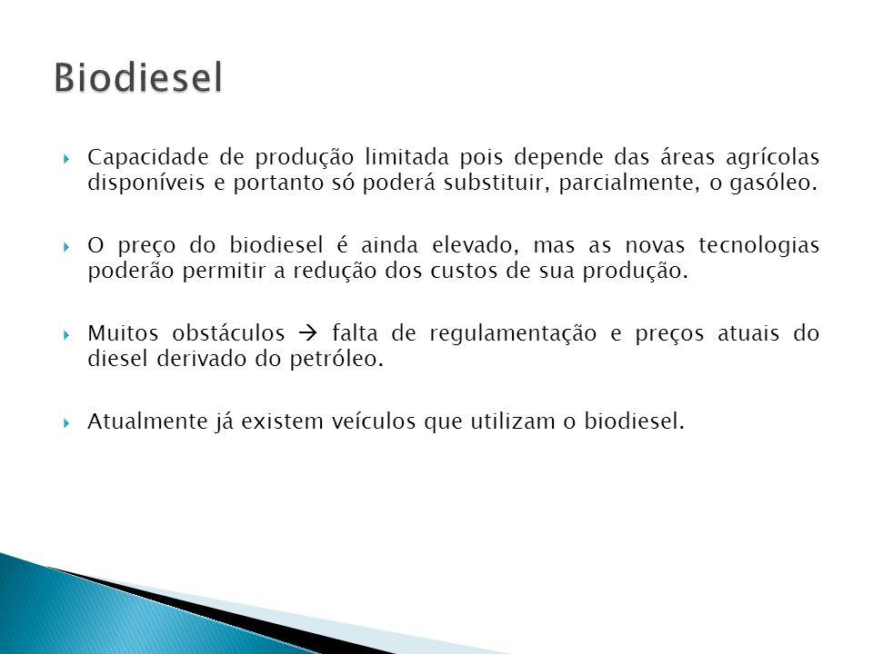 Biodiesel Capacidade de produção limitada pois depende das áreas agrícolas disponíveis e portanto só poderá substituir, parcialmente, o gasóleo.