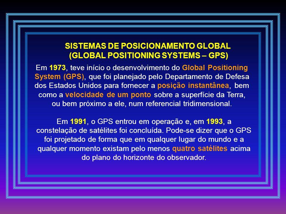 SISTEMAS DE POSICIONAMENTO GLOBAL (GLOBAL POSITIONING SYSTEMS – GPS)