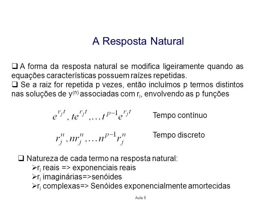 A Resposta Natural A forma da resposta natural se modifica ligeiramente quando as equações características possuem raízes repetidas.