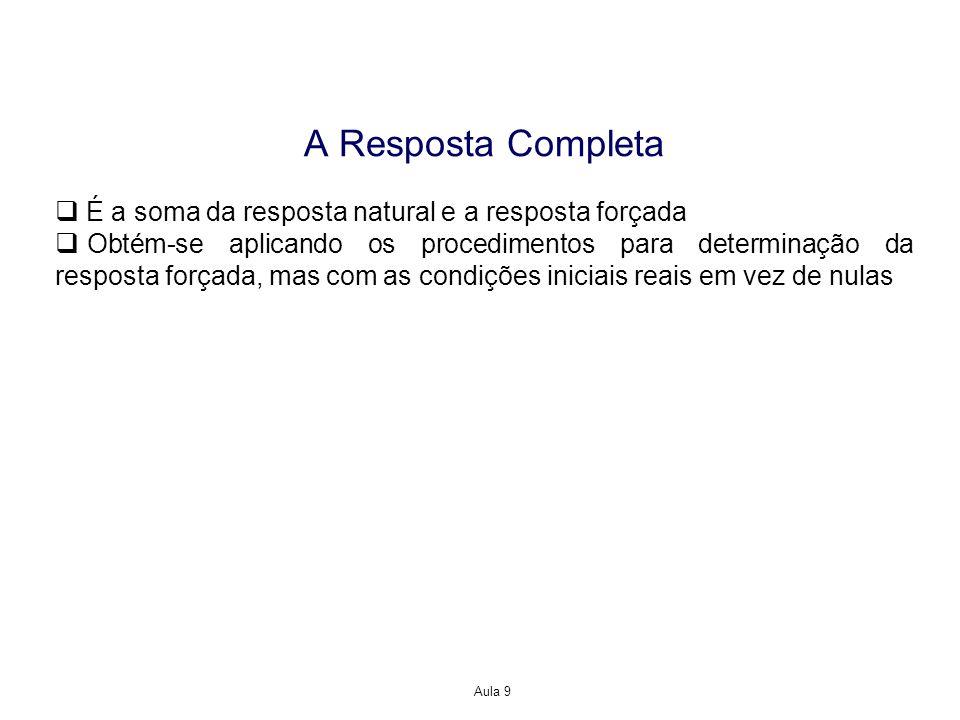 A Resposta Completa É a soma da resposta natural e a resposta forçada
