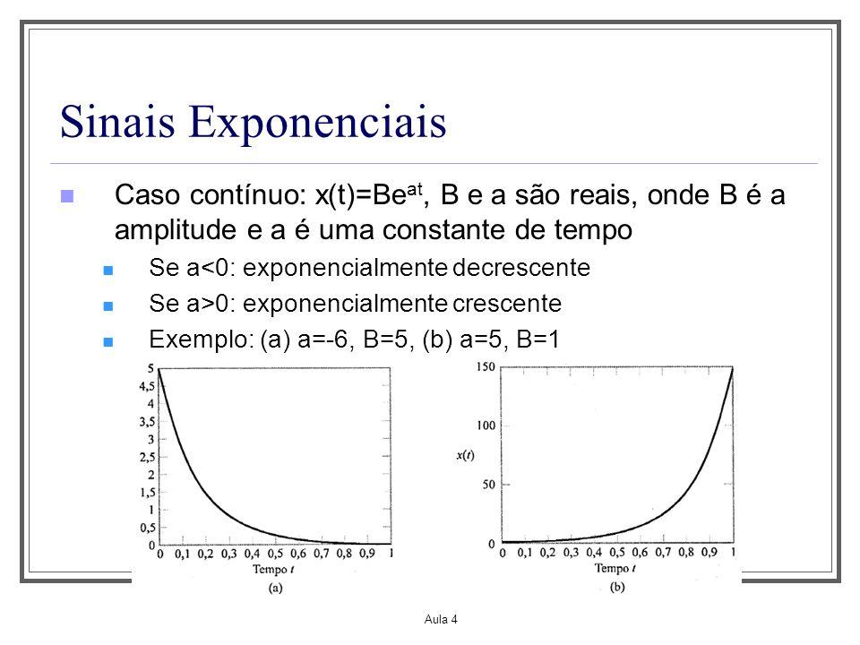 Aula 1 Sinais Exponenciais. Caso contínuo: x(t)=Beat, B e a são reais, onde B é a amplitude e a é uma constante de tempo.