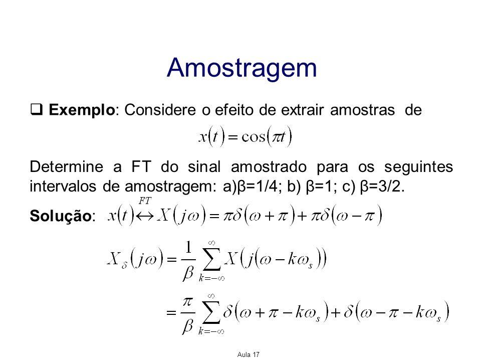 Amostragem Exemplo: Considere o efeito de extrair amostras de