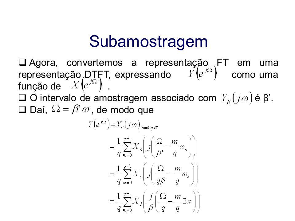 Subamostragem Agora, convertemos a representação FT em uma representação DTFT, expressando como uma função de .