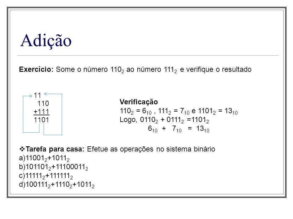 Aula 1 Adição. Exercício: Some o número 1102 ao número 1112 e verifique o resultado. 11. 110. +111.