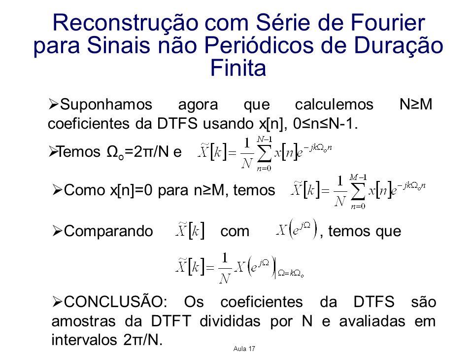 Reconstrução com Série de Fourier para Sinais não Periódicos de Duração Finita