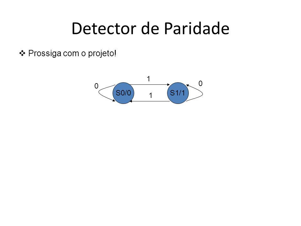 Detector de Paridade Prossiga com o projeto! S0/0 S1/1 1