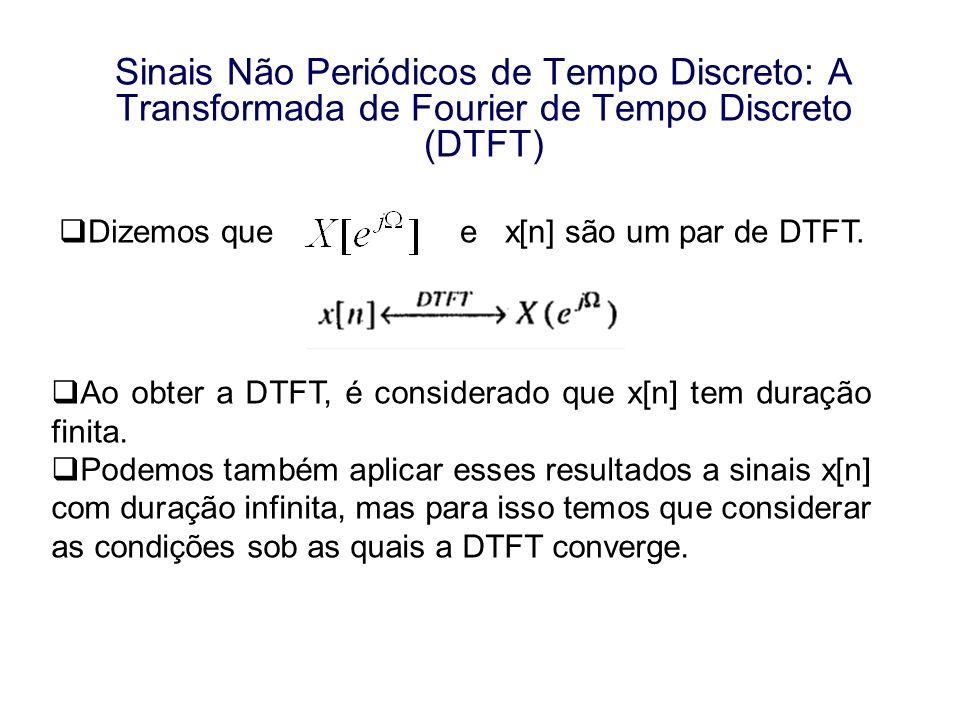 Sinais Não Periódicos de Tempo Discreto: A Transformada de Fourier de Tempo Discreto (DTFT)