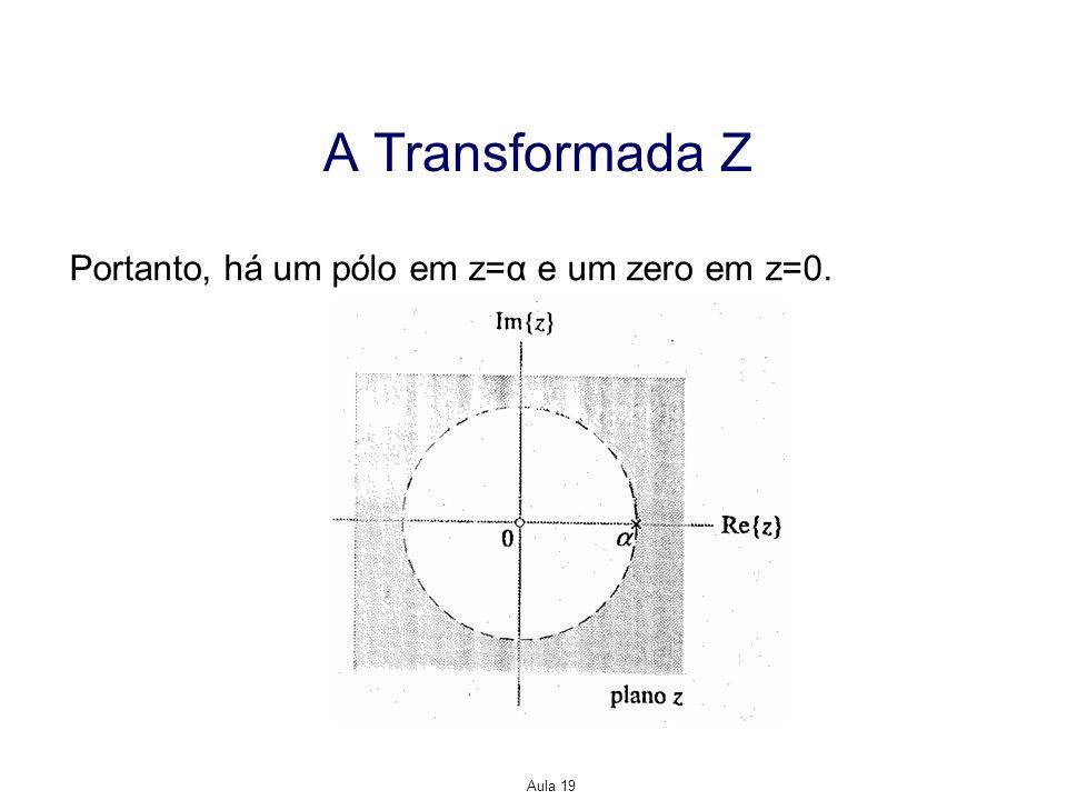 A Transformada Z Portanto, há um pólo em z=α e um zero em z=0. Aula 19