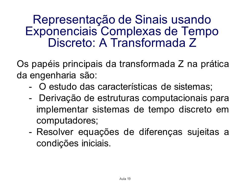 Representação de Sinais usando Exponenciais Complexas de Tempo Discreto: A Transformada Z