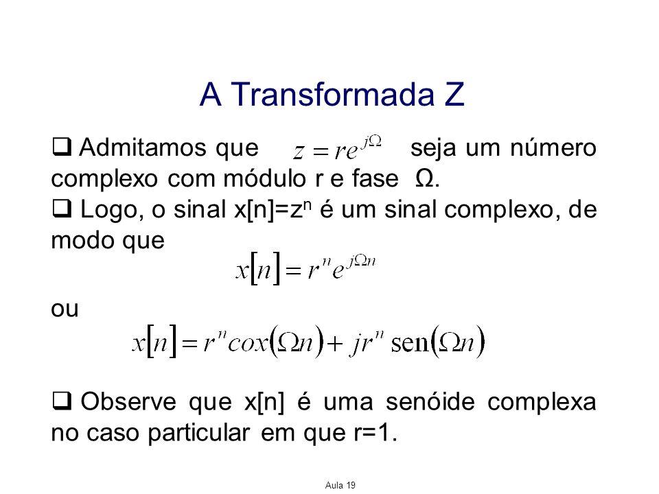 A Transformada Z Admitamos que seja um número complexo com módulo r e fase Ω.