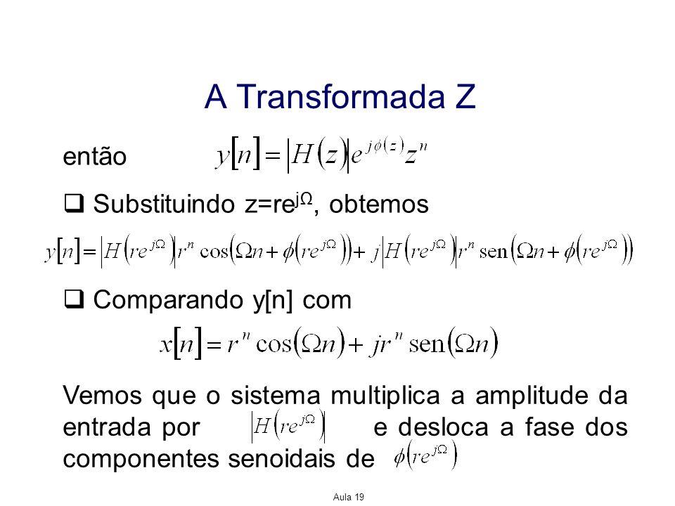 A Transformada Z então Substituindo z=rejΩ, obtemos