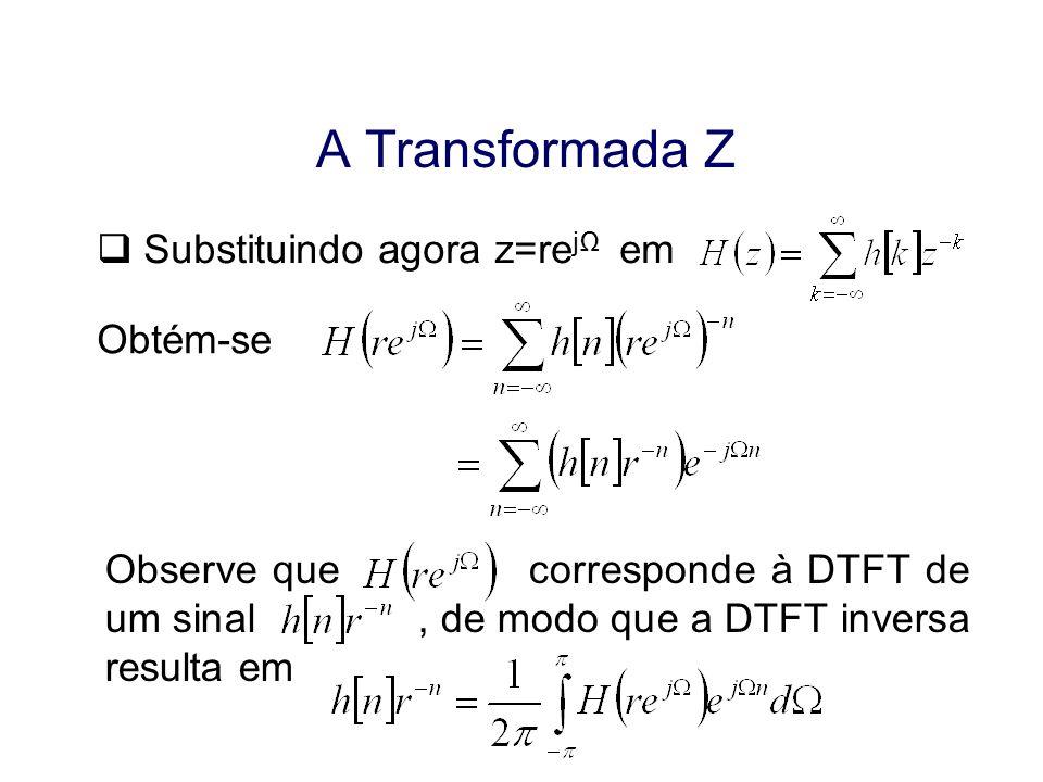 A Transformada Z Substituindo agora z=rejΩ em Obtém-se