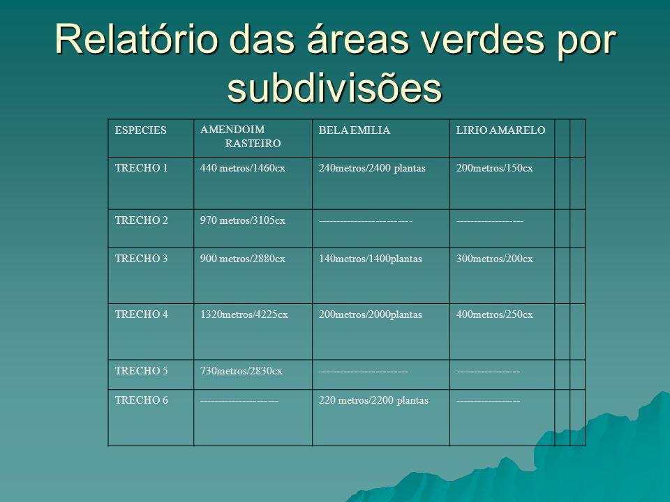 Relatório das áreas verdes por subdivisões