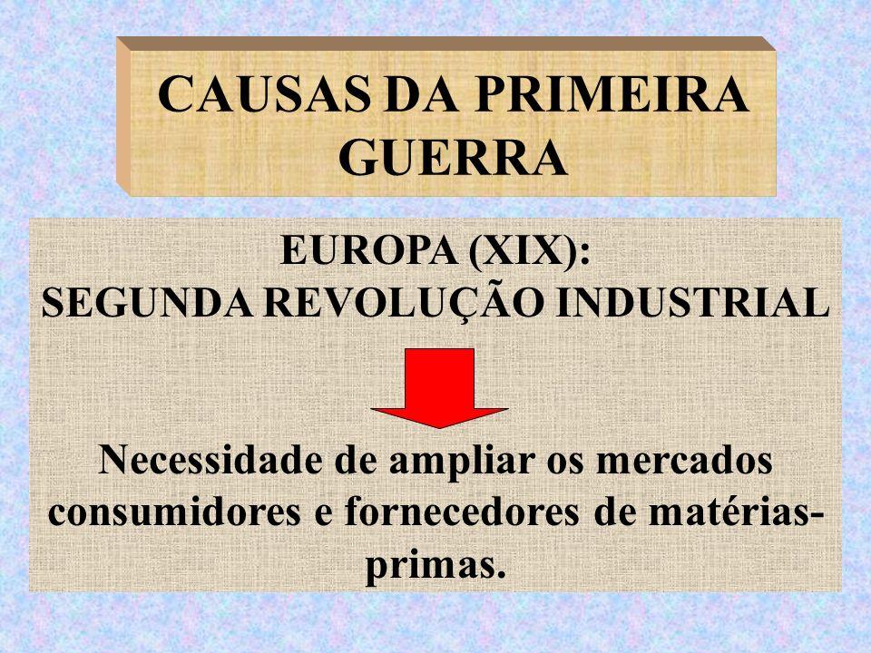 CAUSAS DA PRIMEIRA GUERRA