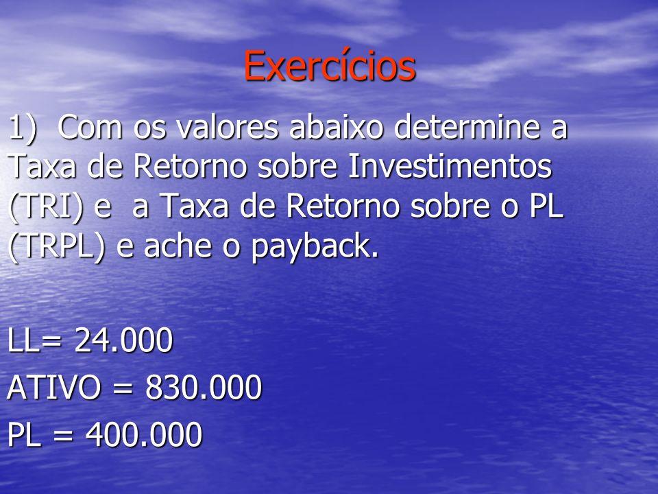 Exercícios 1) Com os valores abaixo determine a Taxa de Retorno sobre Investimentos (TRI) e a Taxa de Retorno sobre o PL (TRPL) e ache o payback.