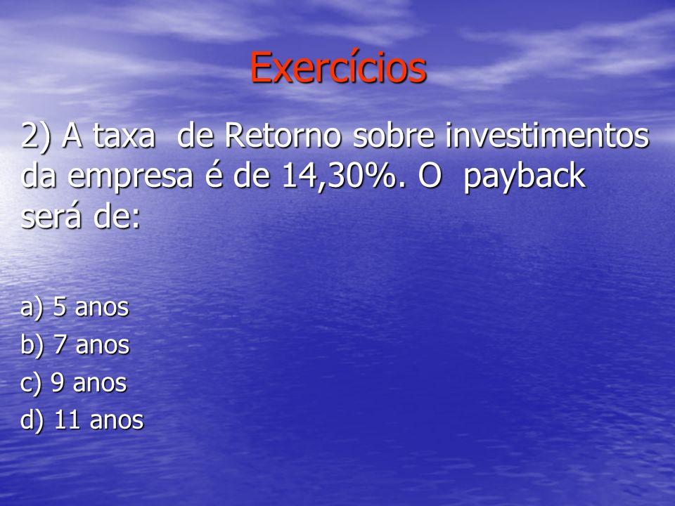 Exercícios 2) A taxa de Retorno sobre investimentos da empresa é de 14,30%. O payback será de: a) 5 anos.