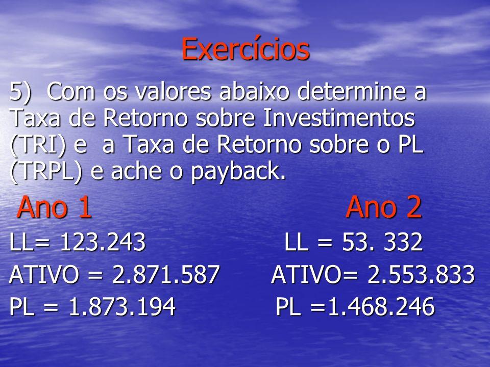 Exercícios 5) Com os valores abaixo determine a Taxa de Retorno sobre Investimentos (TRI) e a Taxa de Retorno sobre o PL (TRPL) e ache o payback.