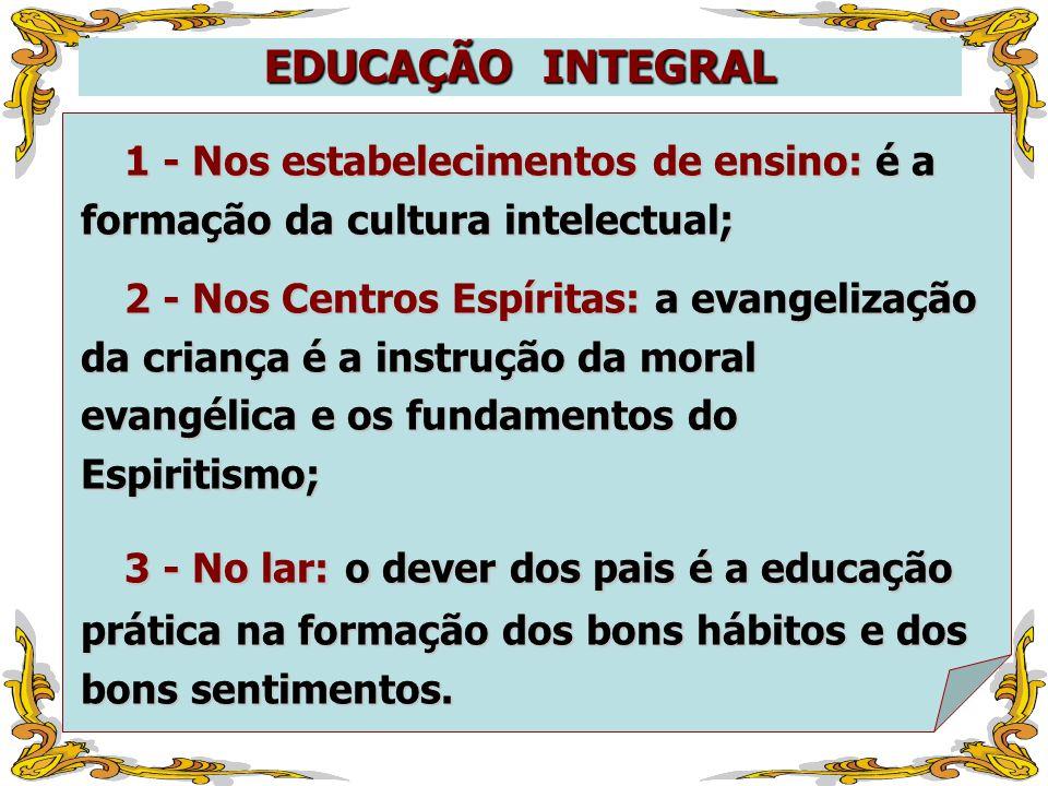 EDUCAÇÃO INTEGRAL 1 - Nos estabelecimentos de ensino: é a formação da cultura intelectual;