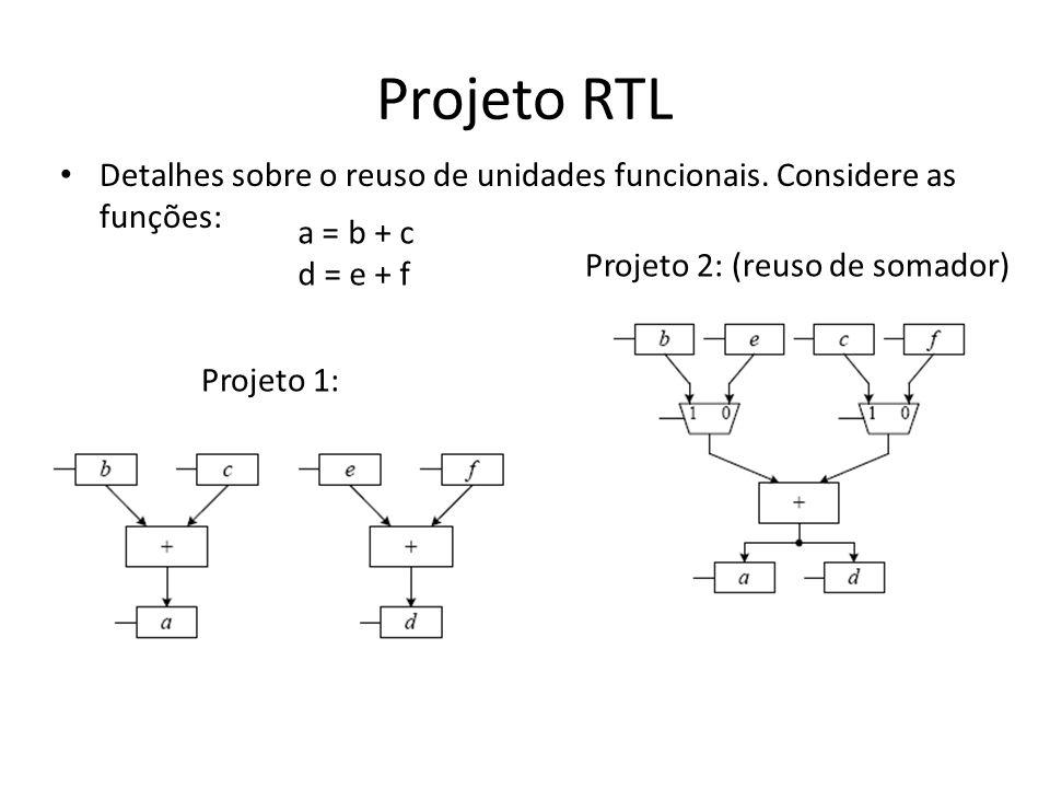 Projeto RTL Detalhes sobre o reuso de unidades funcionais. Considere as funções: a = b + c. d = e + f.