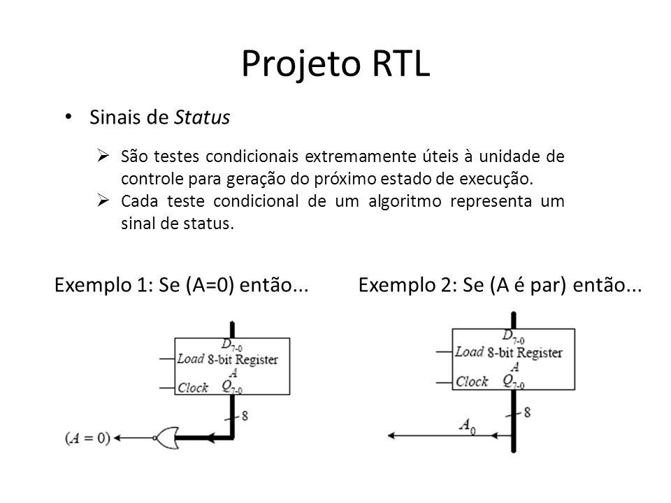 Projeto RTL Sinais de Status Exemplo 1: Se (A=0) então...
