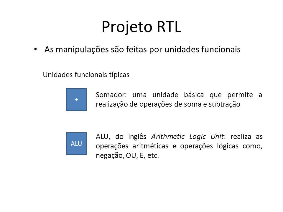 Projeto RTL As manipulações são feitas por unidades funcionais