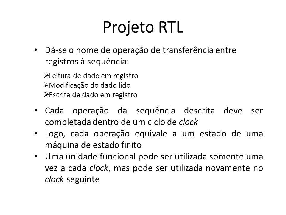 Projeto RTL Dá-se o nome de operação de transferência entre registros à sequência: Leitura de dado em registro.