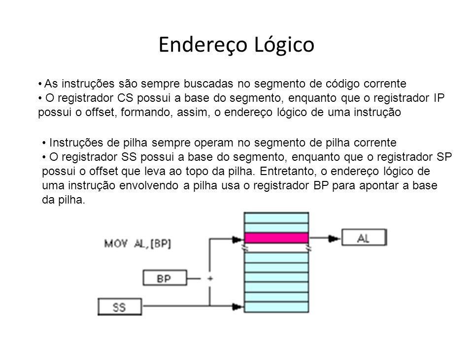 Endereço Lógico As instruções são sempre buscadas no segmento de código corrente.