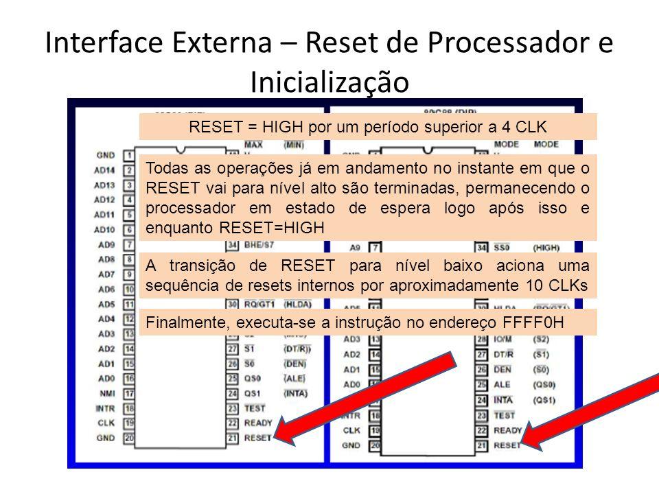 Interface Externa – Reset de Processador e Inicialização
