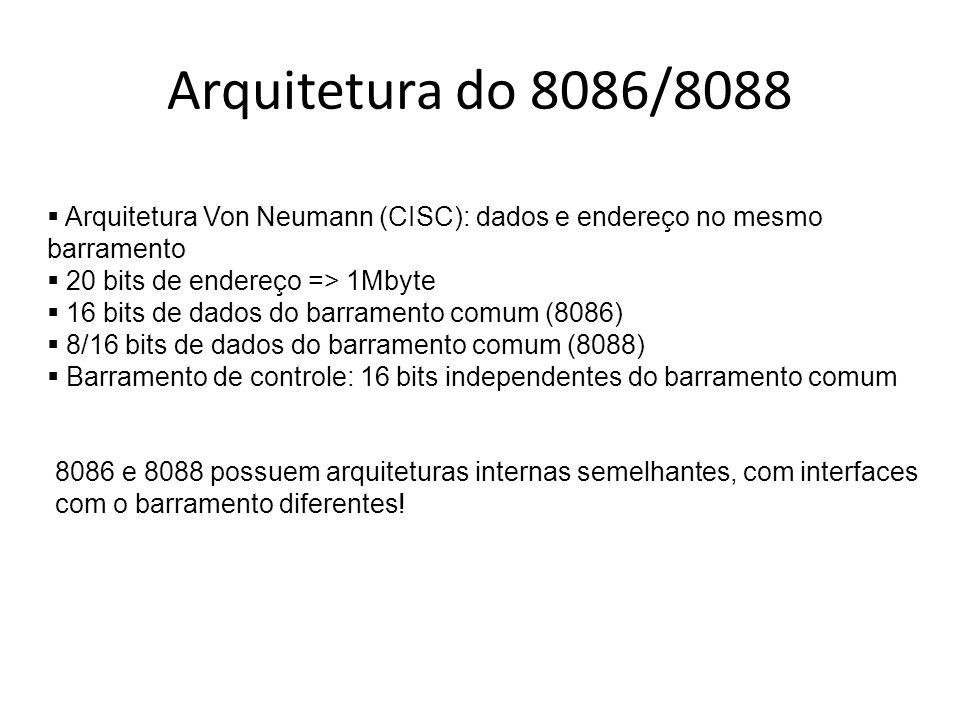 Arquitetura do 8086/8088 Arquitetura Von Neumann (CISC): dados e endereço no mesmo barramento. 20 bits de endereço => 1Mbyte.