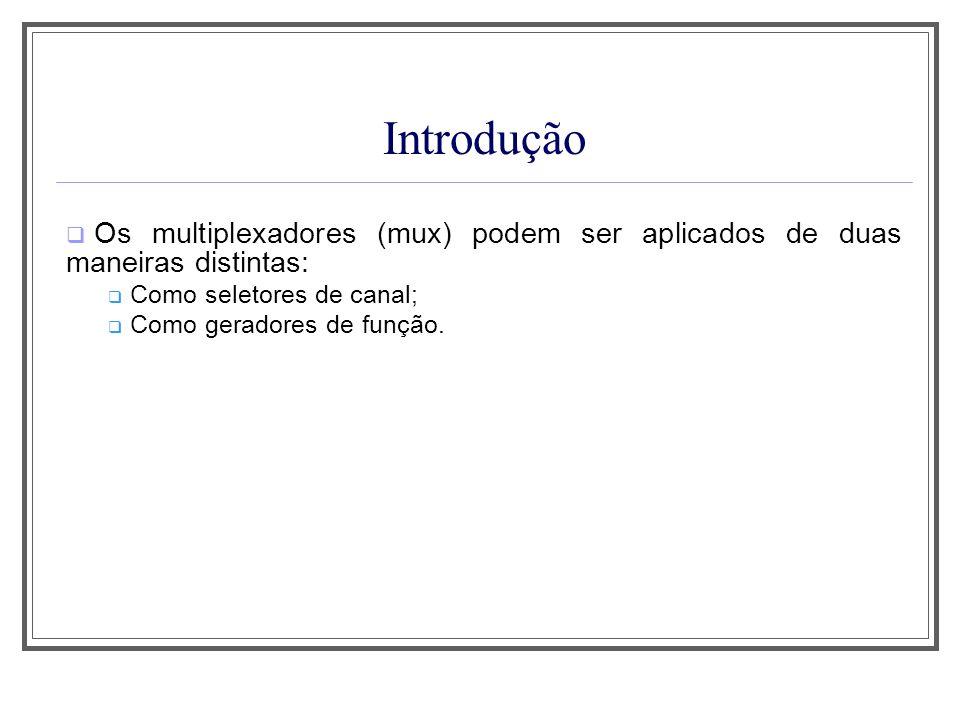 Aula 1Introdução. Os multiplexadores (mux) podem ser aplicados de duas maneiras distintas: Como seletores de canal;