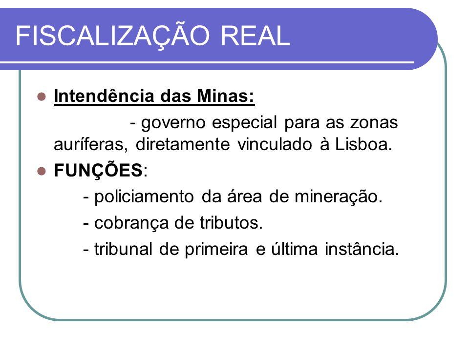 FISCALIZAÇÃO REAL Intendência das Minas: