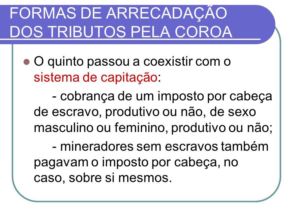 FORMAS DE ARRECADAÇÃO DOS TRIBUTOS PELA COROA