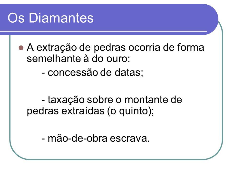 Os Diamantes A extração de pedras ocorria de forma semelhante à do ouro: - concessão de datas;