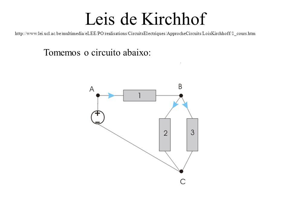 Leis de Kirchhof Tomemos o circuito abaixo: