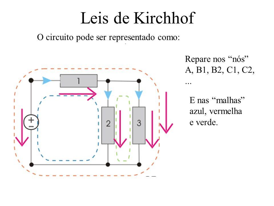 Leis de Kirchhof O circuito pode ser representado como: