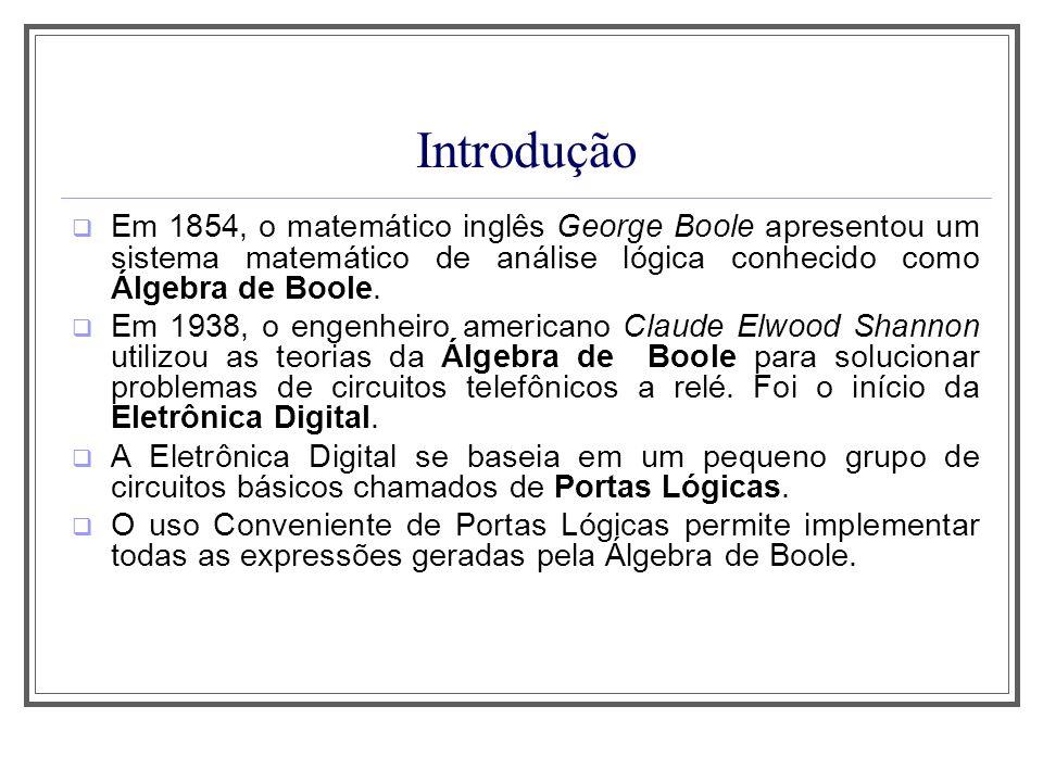 Aula 1 Introdução. Em 1854, o matemático inglês George Boole apresentou um sistema matemático de análise lógica conhecido como Álgebra de Boole.