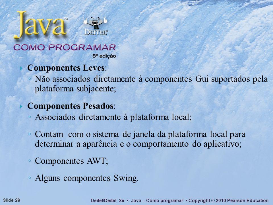 Componentes Leves:Não associados diretamente à componentes Gui suportados pela plataforma subjacente;