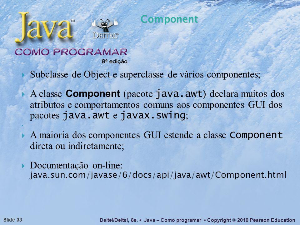 Component Subclasse de Object e superclasse de vários componentes;