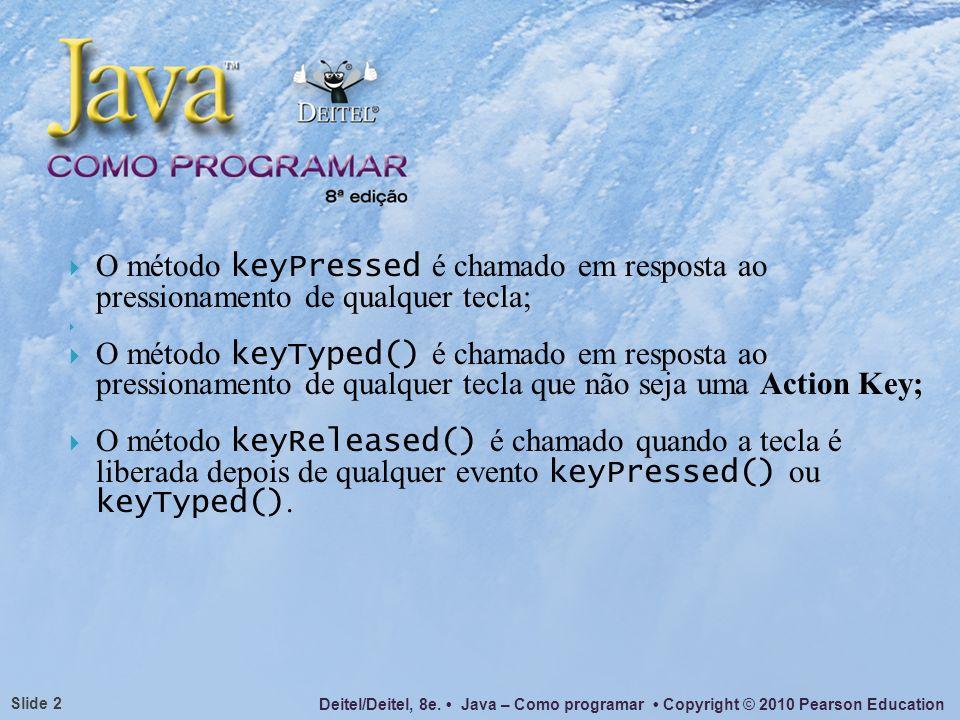 O método keyPressed é chamado em resposta ao pressionamento de qualquer tecla;