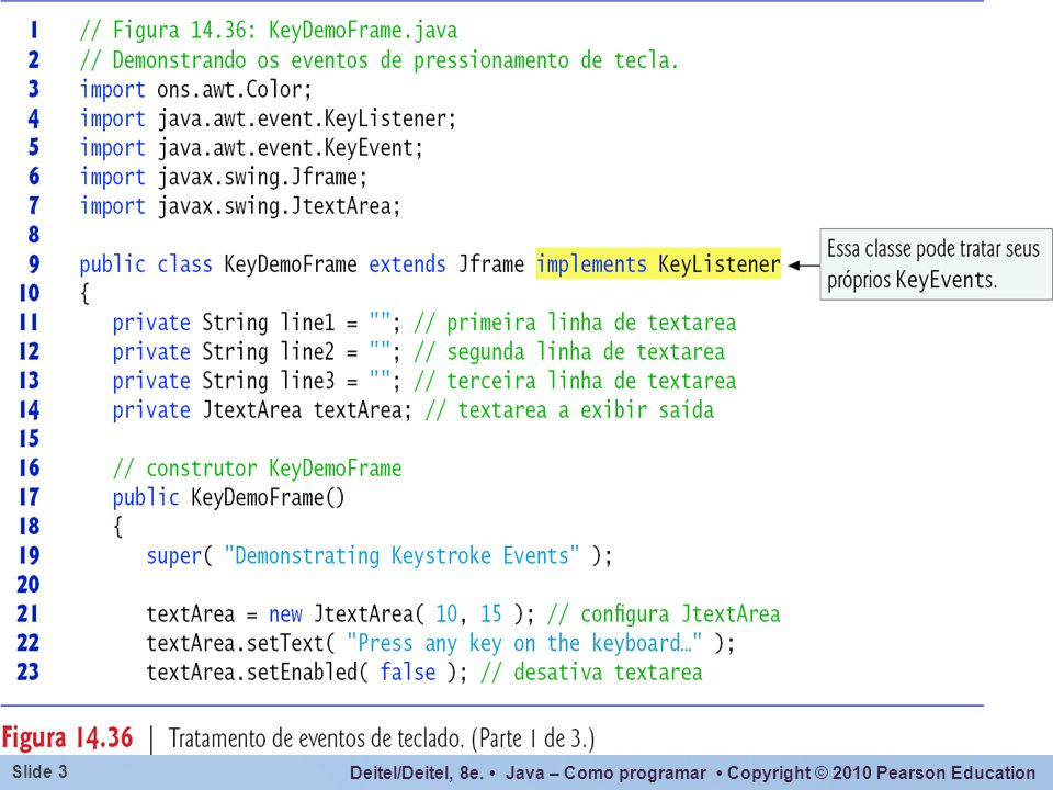 Neste exemplo a própria frame trata seus eventos de teclado.