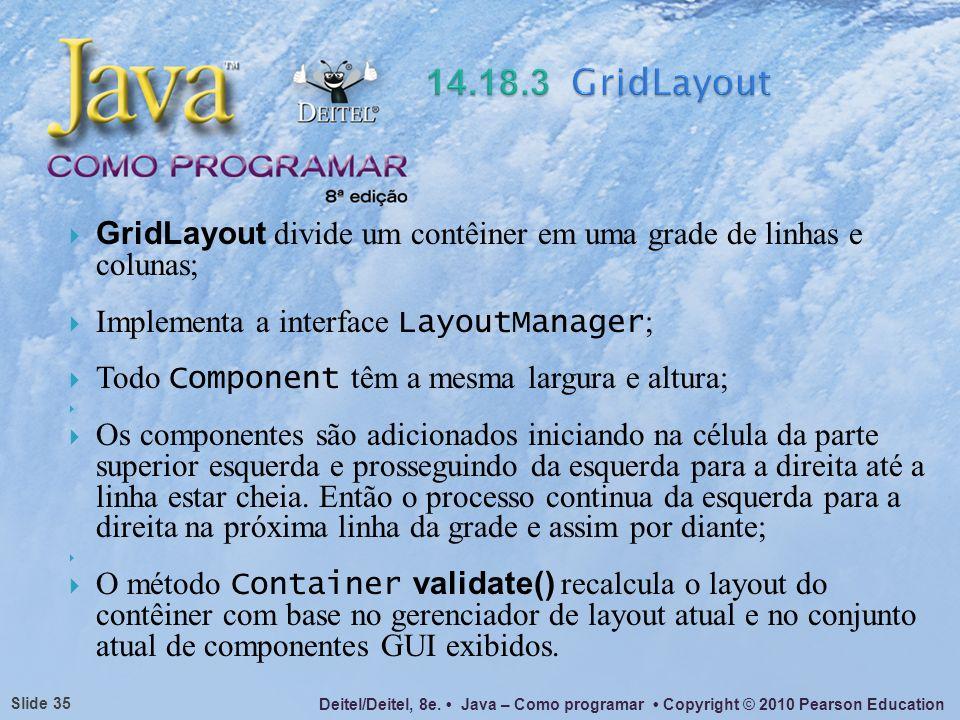 14.18.3 GridLayoutGridLayout divide um contêiner em uma grade de linhas e colunas; Implementa a interface LayoutManager;