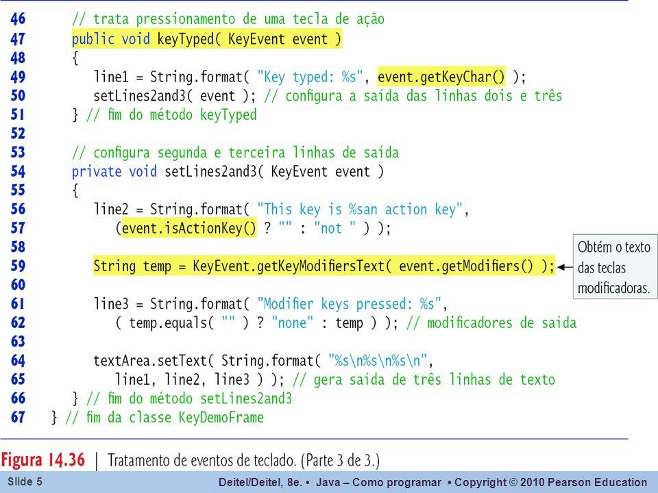 Além do uso de constantes de KeyEvent para determinar se uma certa tecla foi pressionada, também podem ser utilizados os seguintes métodos, que retornam valor booleano caso a tecla tenha sido pressionada: isAltDown(), isControlDown(), isMetaDown(), isShiftDown().