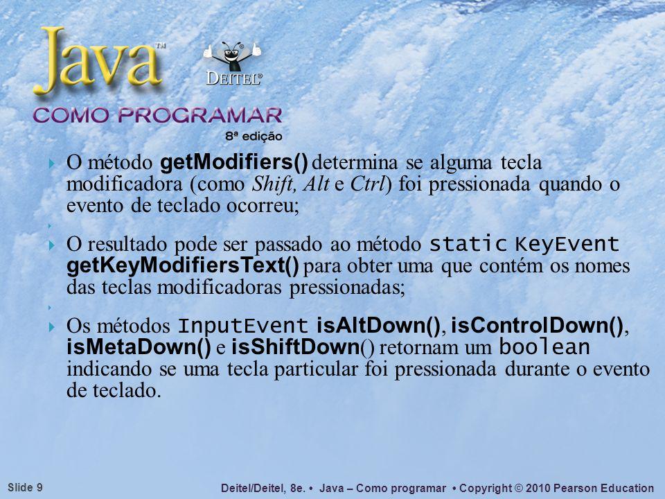 O método getModifiers() determina se alguma tecla modificadora (como Shift, Alt e Ctrl) foi pressionada quando o evento de teclado ocorreu;