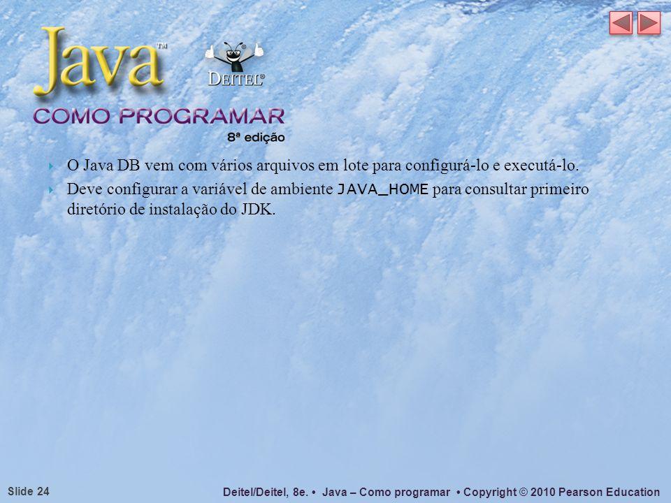 O Java DB vem com vários arquivos em lote para configurá-lo e executá-lo.