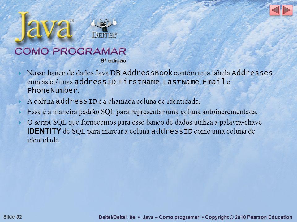 Nosso banco de dados Java DB AddressBook contém uma tabela Addresses com as colunas addressID, FirstName, LastName, Email e PhoneNumber.