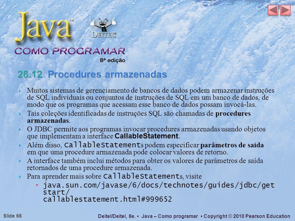 28.12 Procedures armazenadas