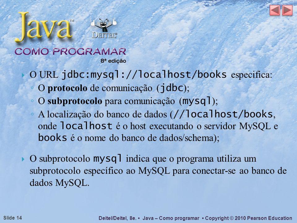 O URL jdbc:mysql://localhost/books especifica: