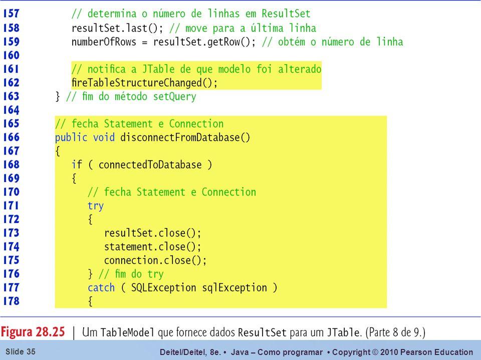 O método fireTableStructureChanged() notifica qualquer JTable que utiliza esse objeto ResultSetTableModel como seu modelo que a estrutura do modelo mudou, o que faz com que a JTable preencha novamente suas linhas e colunas com os novos dados do ResultSet.