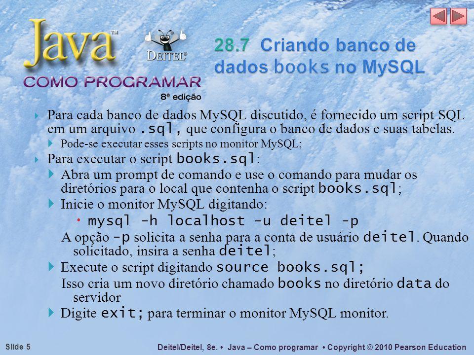 28.7 Criando banco de dados books no MySQL