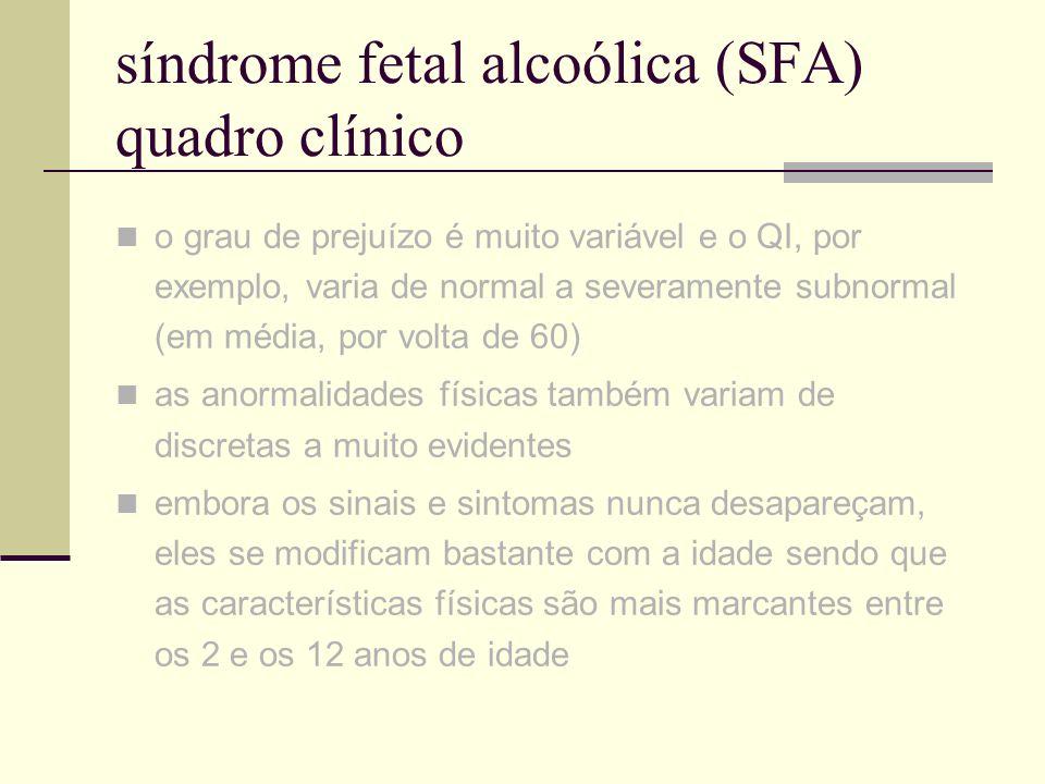 síndrome fetal alcoólica (SFA) quadro clínico